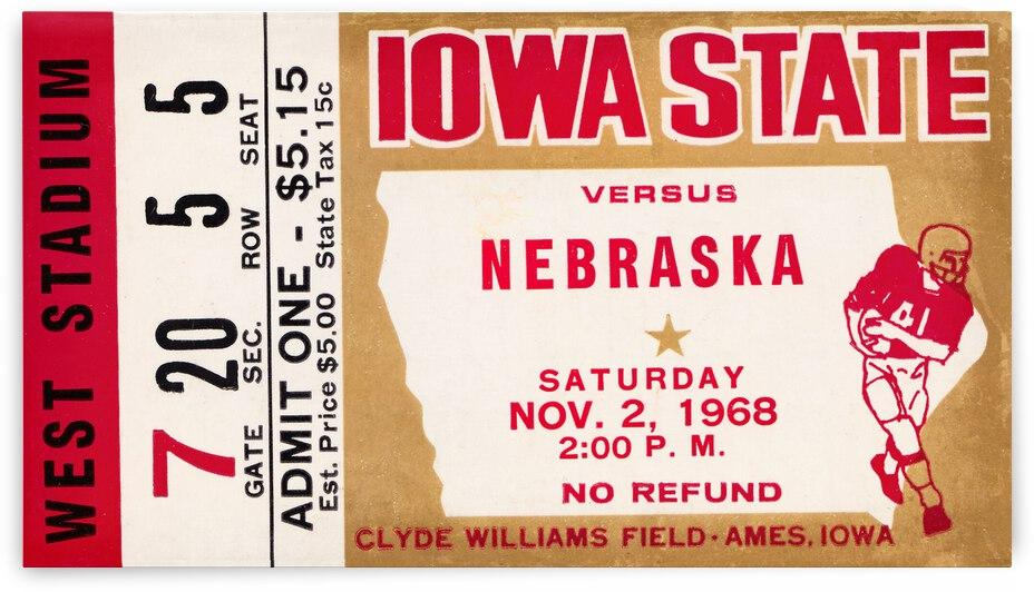 1968 Iowa State vs. Nebraska Football Ticket Stub Canvas by Row One Brand