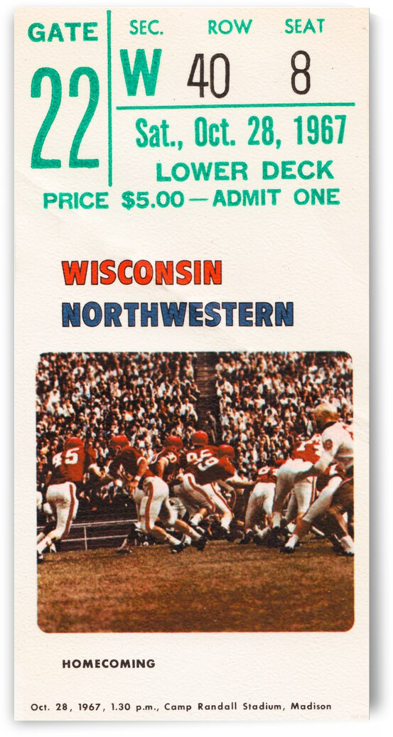 1967 Wisconsin Badgers vs. Northwestern Wildcats Football Ticket Canvas by Row One Brand