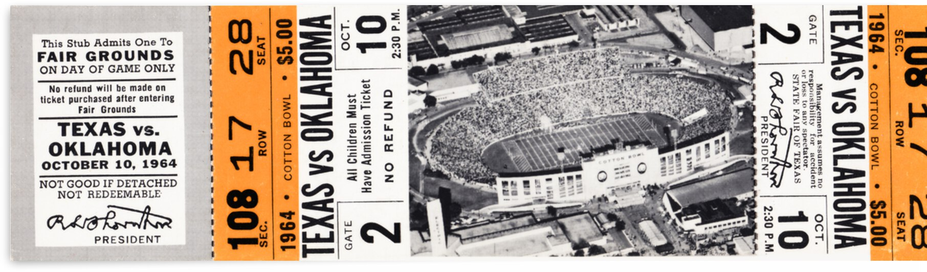 1964 Oklahoma Sooners vs. Texas Longhorns by Row One Brand