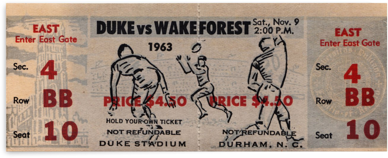 1963 Duke vs. Wake Forest Football Ticket Canvas by Row One Brand