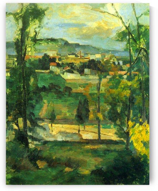 Village behind the trees, Ile de France by Cezanne by Cezanne