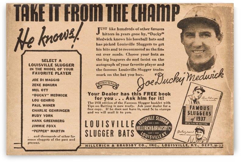 1938 Joe Ducky Medwick Louisville Slugger Ad Poster by Row One Brand