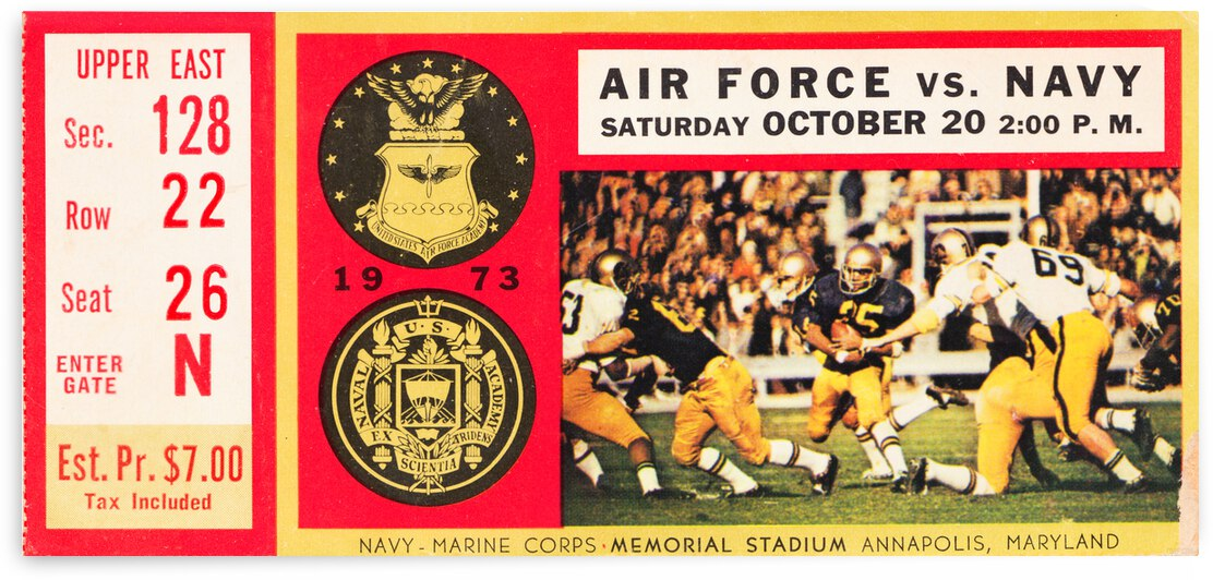 1973 Air Force vs. Navy Football Ticket Canvas by Row One Brand