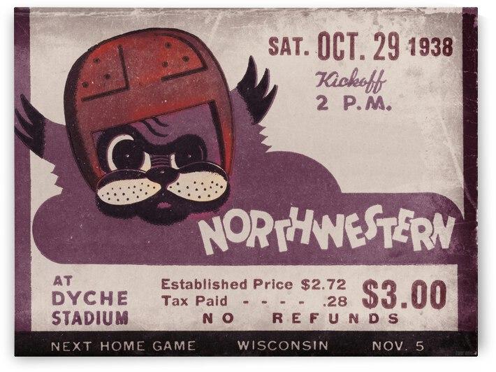 1938 Northwestern Ticket Stub Remix Art by Row One Brand