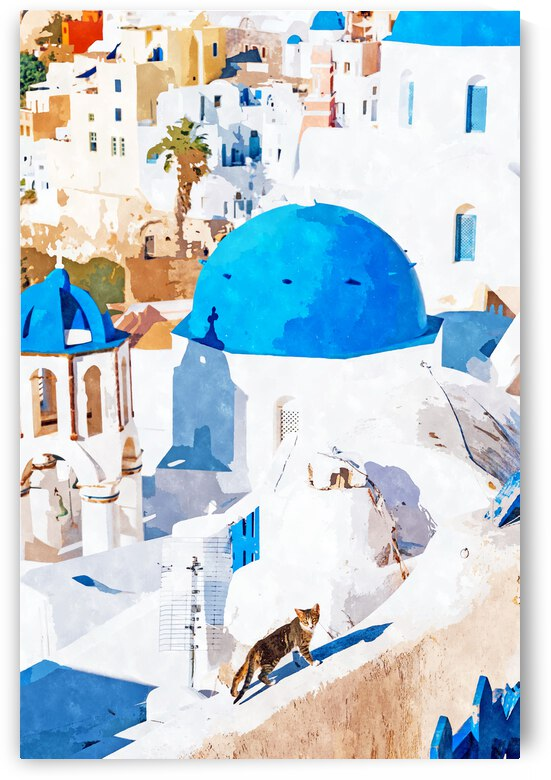 Greek Goddess Scenic Greece White Buildings Cat Illustration Travel Architecture Pets Painting  by 83 Oranges