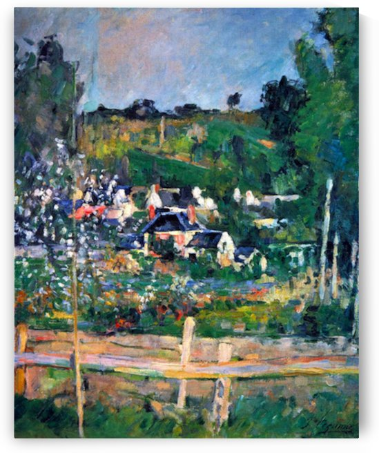 Village behind the view of Auvers-sur-Oise, The Fence by Cezanne by Cezanne