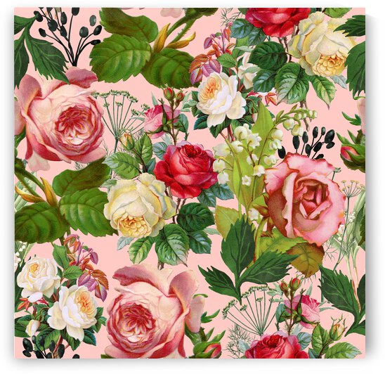 Vintage Botanical Blush Floral Rose Illustration Nature Plants Bohemian Painting Royal Garden  by 83 Oranges