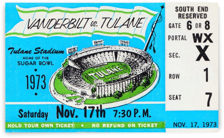 1973 Tulane vs. Vanderbilt  by Row One Brand
