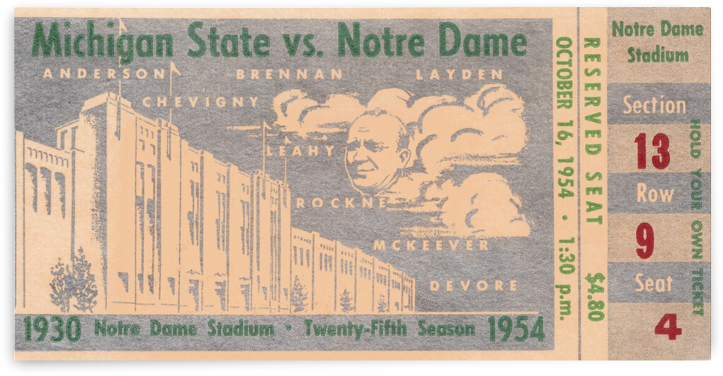 1954 Notre Dame vs. Michigan State by Row One Brand