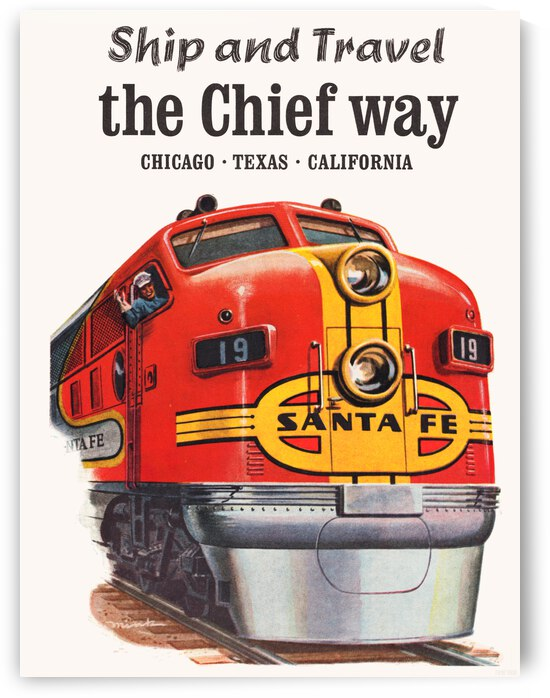 1962 Santa Fe Chief Train Advertisement Poster by Row One Brand