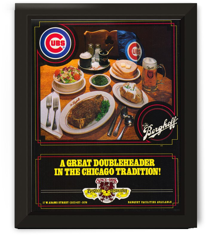1983 Berghoff Restaurant Chicago Cubs Ad Poster by Row One Brand