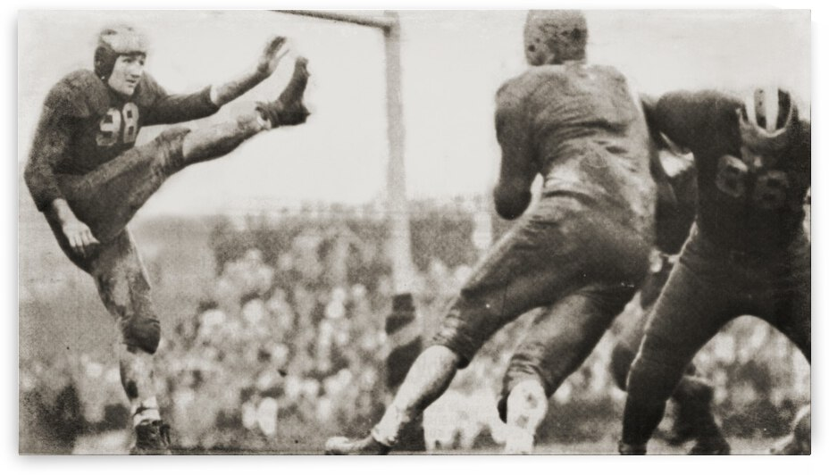 1940 Michigan Football Player Tom Harmon Punt  by Row One Brand