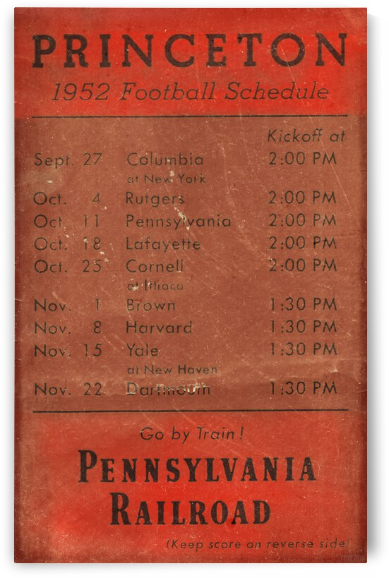 1952 Princeton Football Schedule Art by Row One Brand