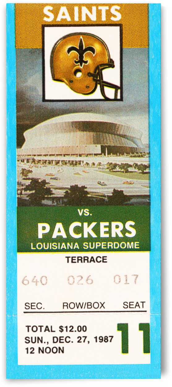 1987 New Orleans Saints vs. Packers Ticket Canvas by Row One Brand