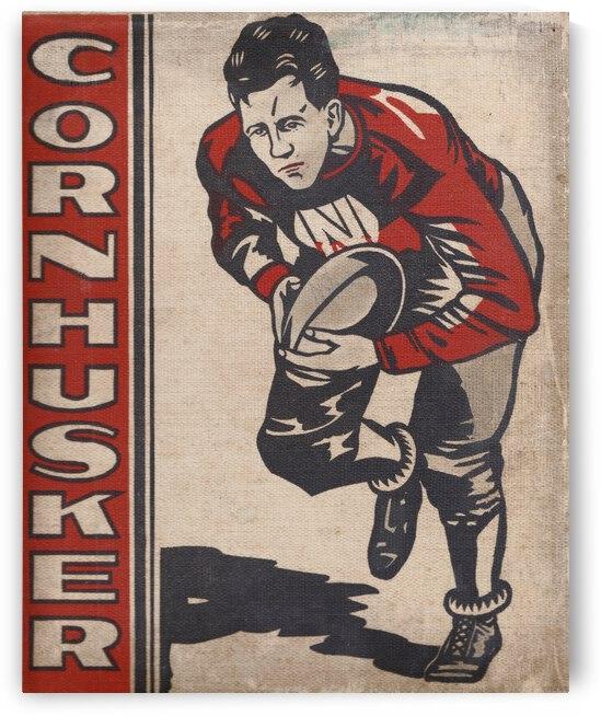1930 Nebraska Cornhusker Vintage Football Art by Row One Brand