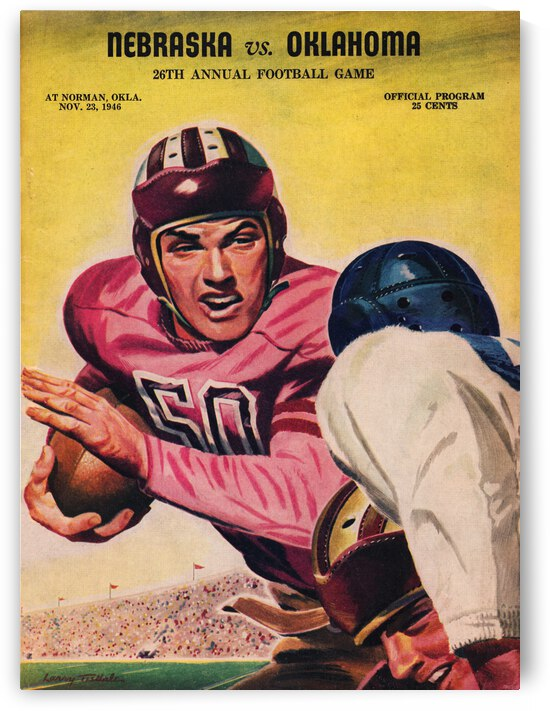1946 Oklahoma Sooners vs. Nebraska Cornhuskers by Row One Brand