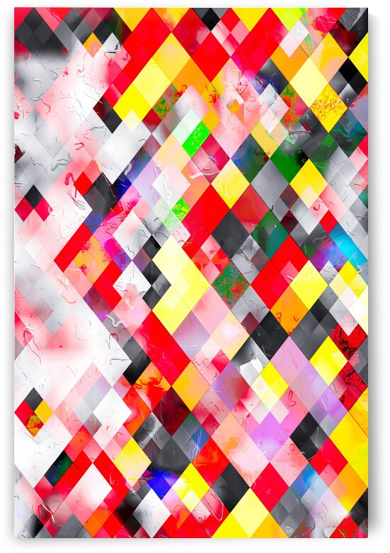 colorful geometric square pixel pattern abstract in red pink yellow by TimmyLA