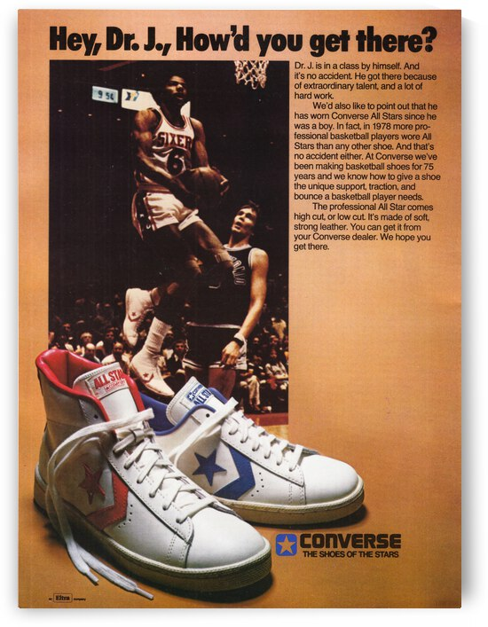 1978 Dr. J Converse Shoe Ad Poster by Row One Brand