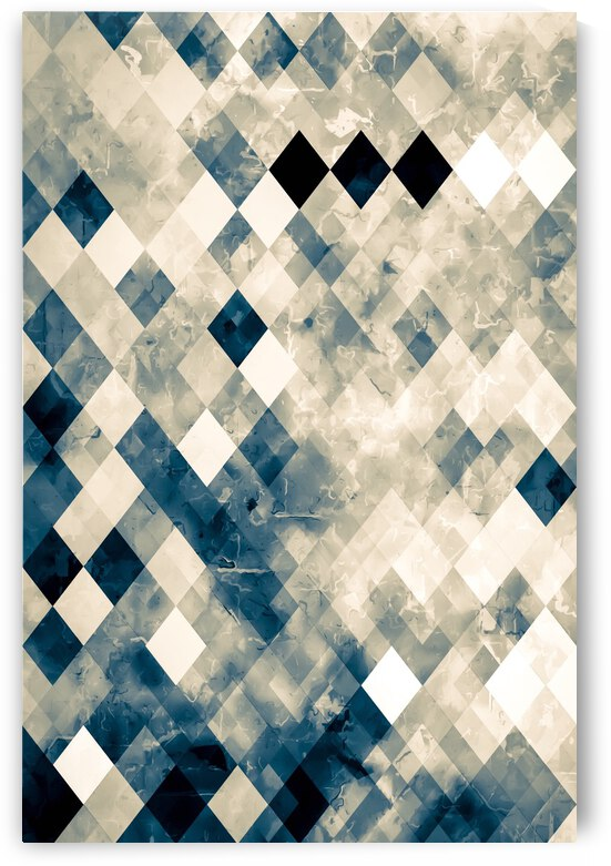 vintage geometric square pixel pattern abstract art in blue by TimmyLA