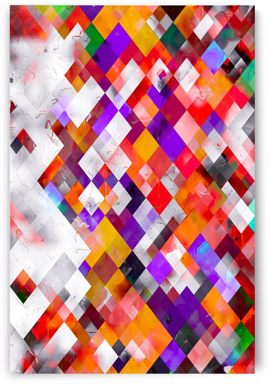 colorful geometric square pixel pattern abstract art in orange red purple by TimmyLA