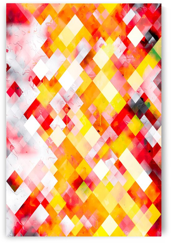 geometric square pixel pattern abstract art background in red orange yellow by TimmyLA
