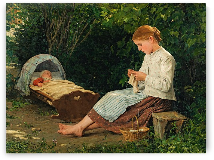Knitting Girl Watching The Toddler In A Cradle_OSG by One Simple Gallery