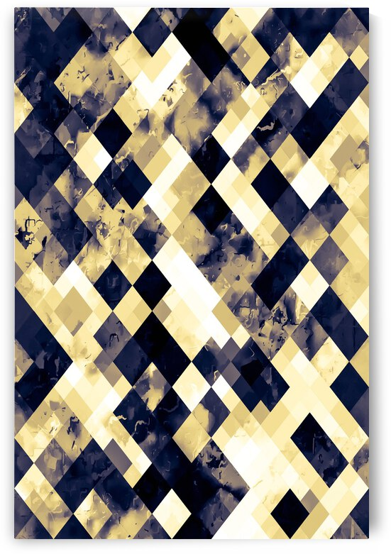 geometric square pixel pattern abstract art background in brown yellow by TimmyLA