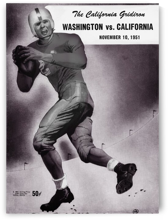 1951 Washington Huskies vs. Cal Bears Football Program Remix Art by Row One Brand