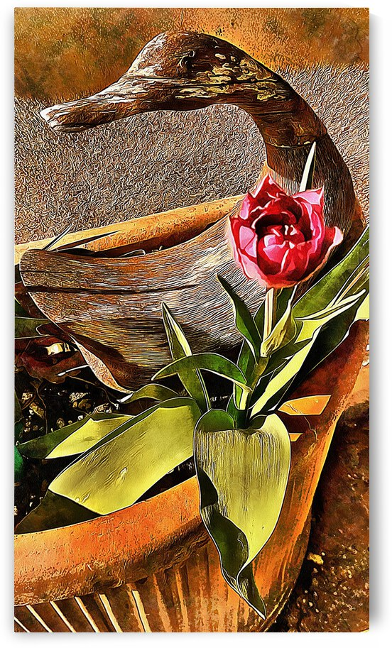 Wooden Duck and Tulip by Dorothy Berry-Lound