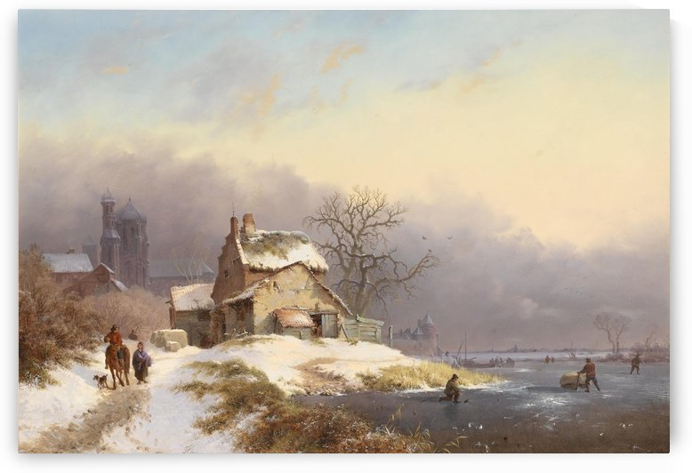 Winter landscape with figures near lake and church in background by Frederik Marinus Kruseman