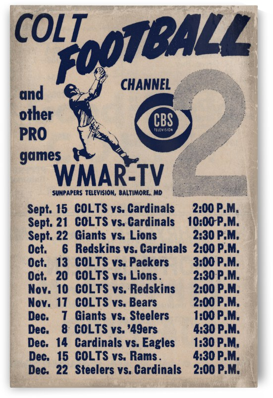 1957 WMAR TV Baltimore Colts Ad by Row One Brand