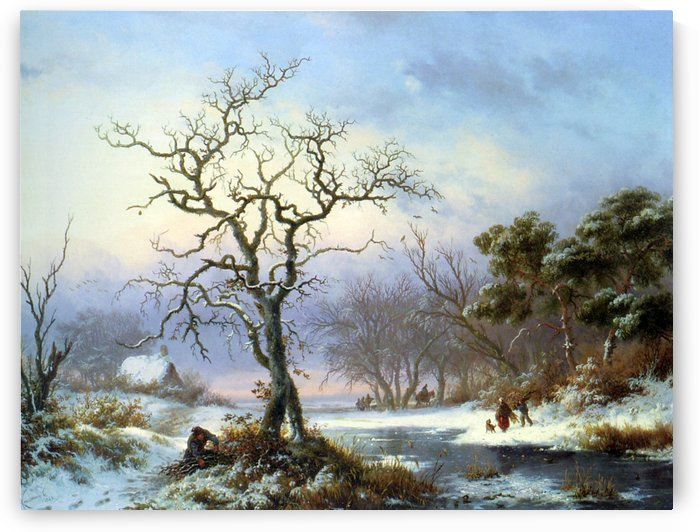 Faggot Gatherers in a Winter Landscape by Frederik Marinus Kruseman
