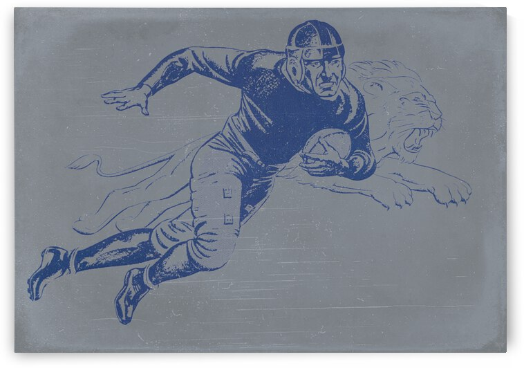 1934 Vintage Lion Football Player Art by Row One Brand