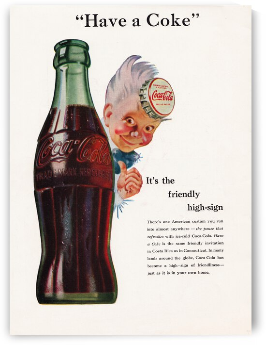 1945 Vintage Coke Ad by Row One Brand