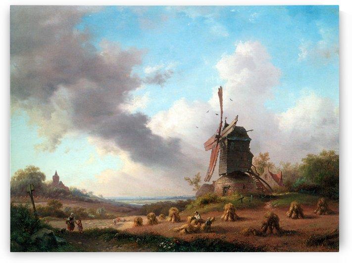 Summer Landscape with Harvesting Farmers by Frederik Marinus Kruseman