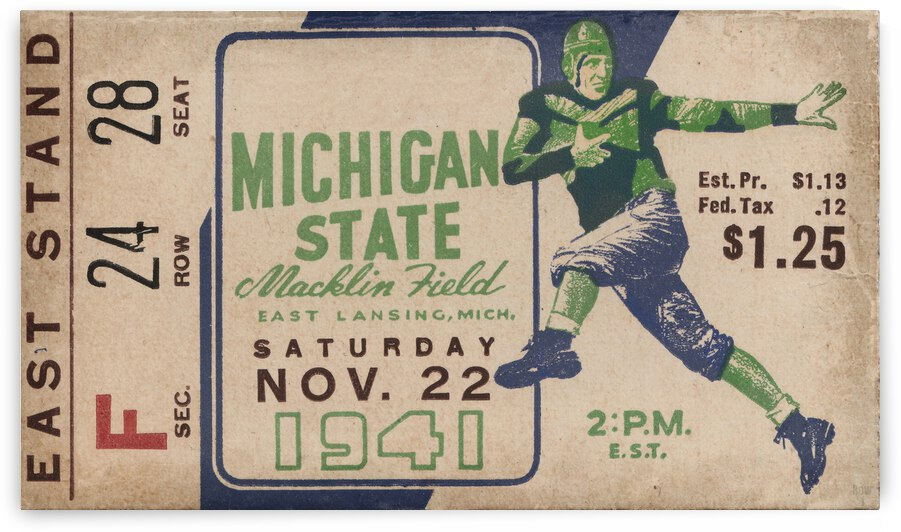 1941 Michigan State Football Ticket Remix Art by Row One Brand