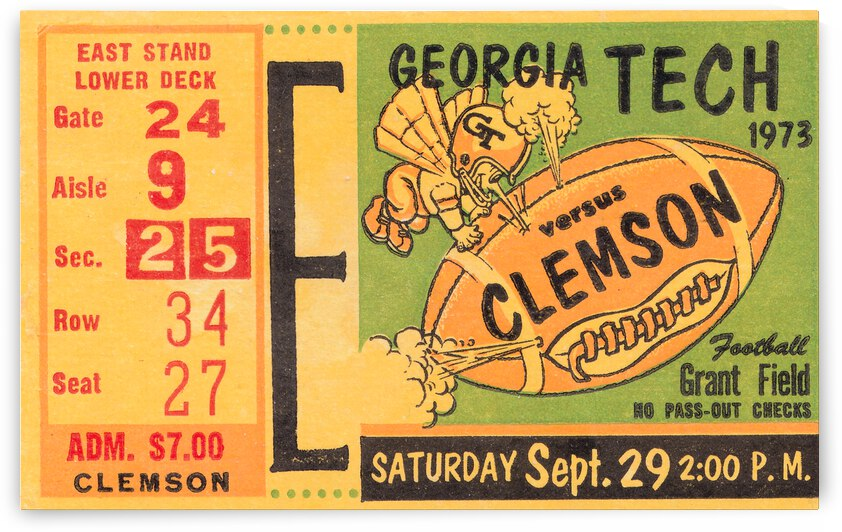 1973 Georgia Tech vs. Clemson by Row One Brand