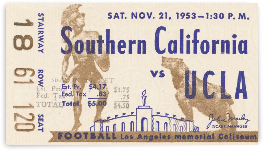 1953 USC Trojans vs. UCLA Bruins Ticket Stub Art by Row One Brand
