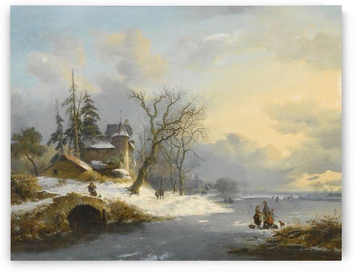 Winter Landscape with figures on frozen lake by Frederik Marinus Kruseman
