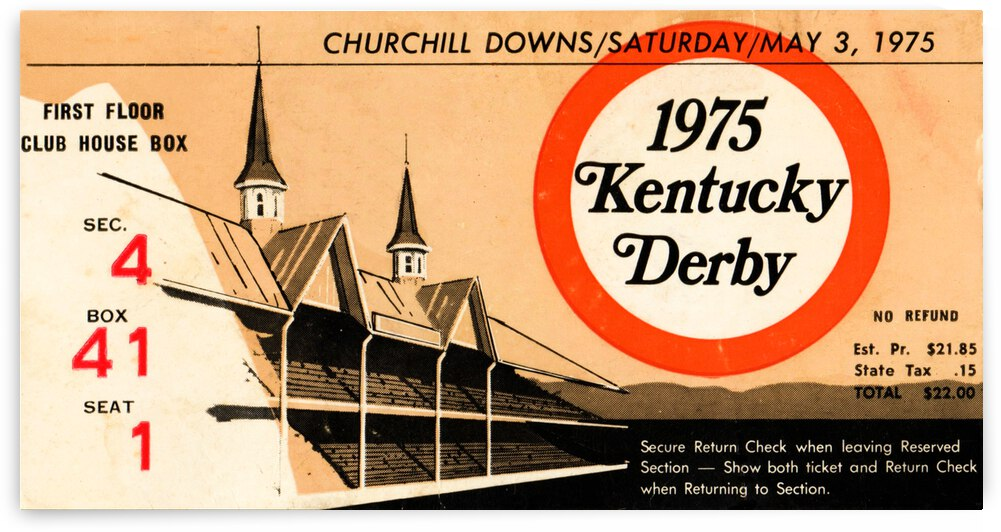 1975 Kentucky Derby Horse Race Ticket Canvas by Row One Brand