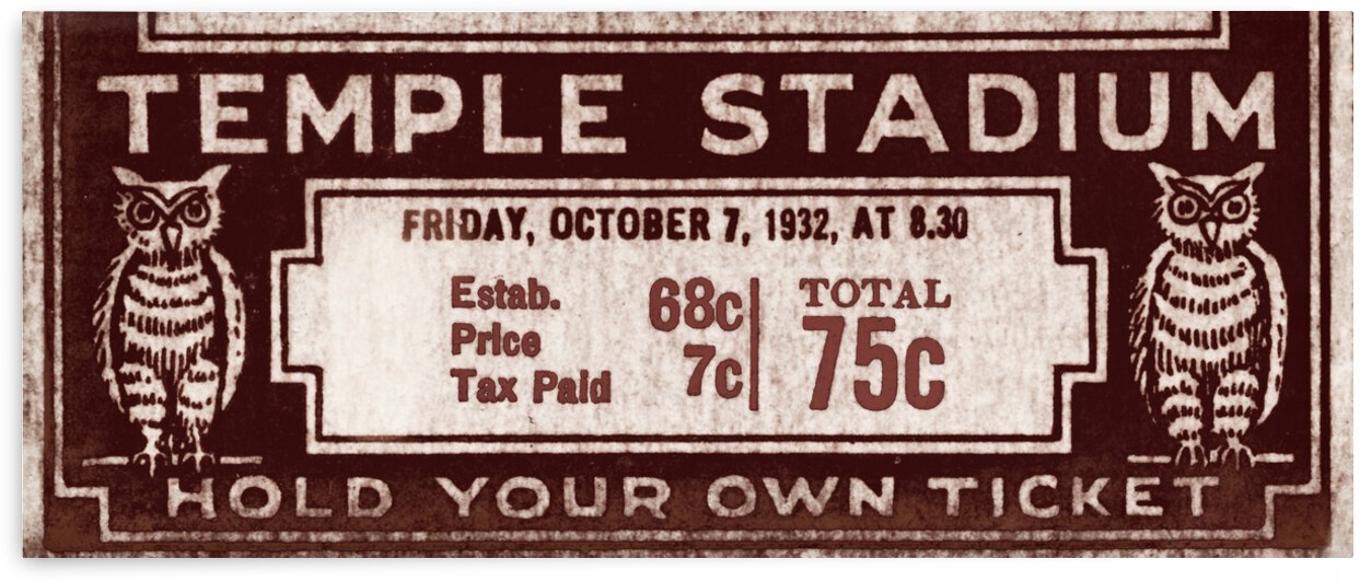 1932 Temple Owls Football Ticket Remix by Row One Brand