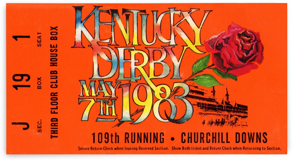 1983 Kentucky Derby Ticket Canvas by Row One Brand