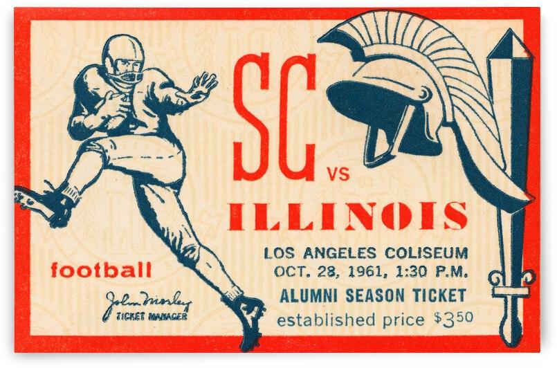 1961 Illinois vs. USC Football Ticket Stub Art by Row One Brand