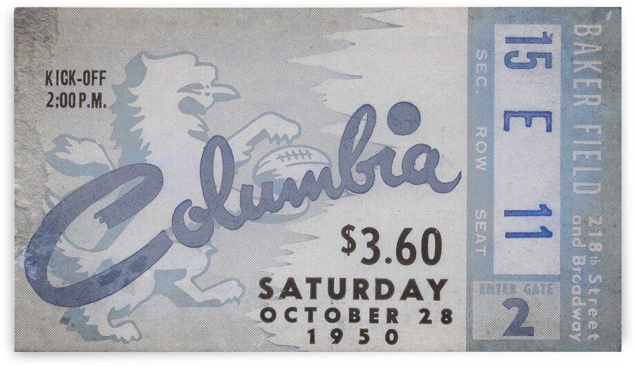 1950 Columbia Lion Football Ticket Remix by Row One Brand