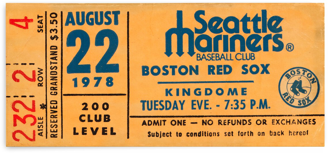 1978 Seattle Mariners Baseball Ticket Canvas Art by Row One Brand