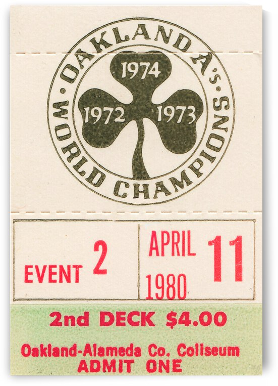 1980 Oakland Athletics Billy Martin First Win by Row One Brand