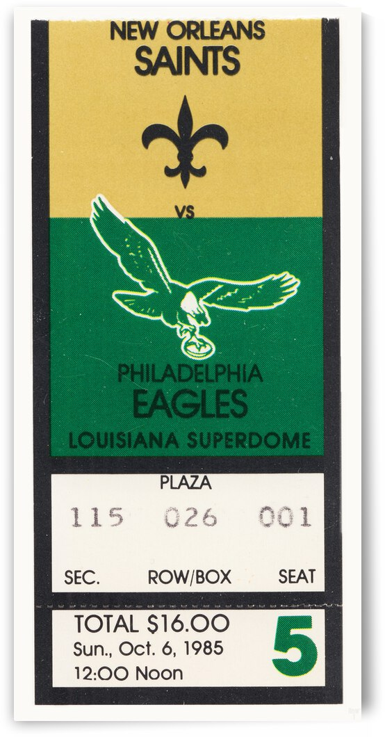 1985 New Orleans Saints vs. Eagles Ticket Canvas by Row One Brand