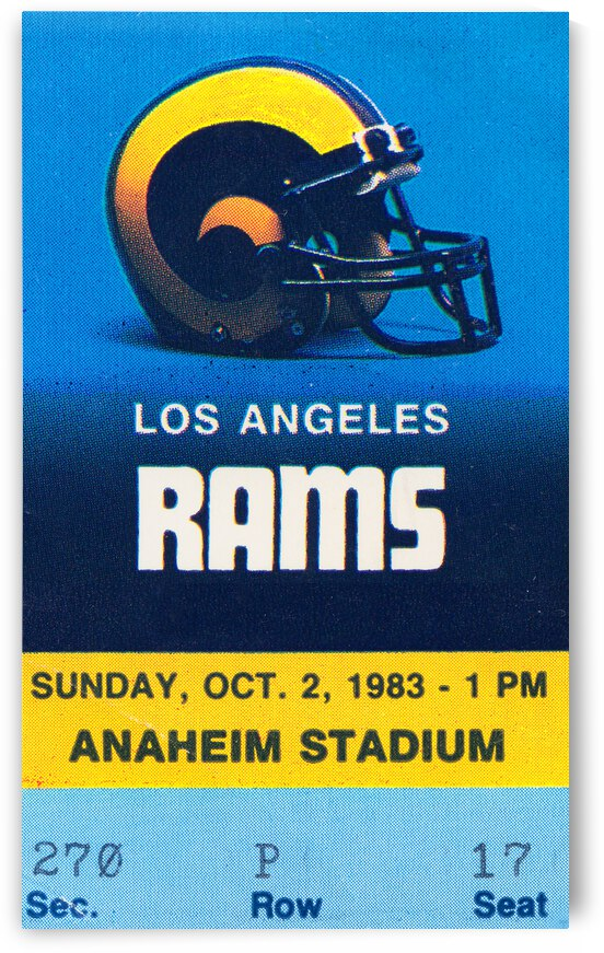 1983 LA Rams Football Ticket Art Remix by Row One Brand