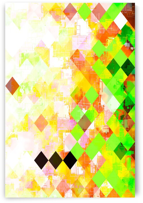 geometric pixel square pattern abstract background in green yellow orange by TimmyLA