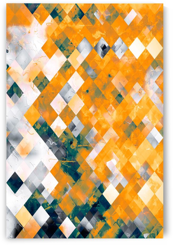 geometric pixel square pattern abstract background in orange brown green by TimmyLA